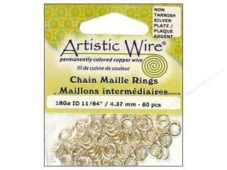 jump rings: Artistic Wire Chain Maille Jump Rings 18 ga. 11/64 in. Silver 60 pc.
