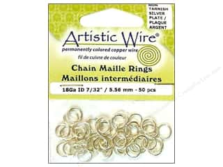 Findings Artistic Wire™: Artistic Wire Chain Maille Jump Rings 18 ga. 7/32 in. Silver 50 pc.