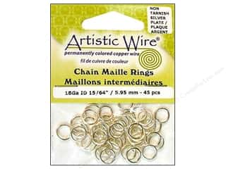 Findings Artistic Wire™: Artistic Wire Chain Maille Jump Rings 18 ga. 15/64 in. Silver 45 pc.