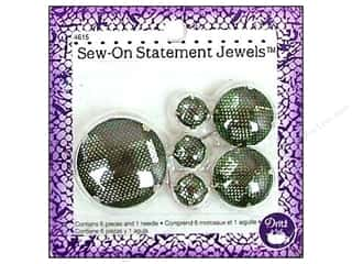 Trims $20 - $30: Sew On Statement Jewels by Dritz Green 6pc