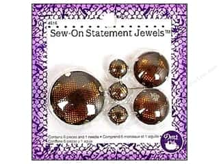 Trims $20 - $30: Dritz Sew On Statement Jewels Amber 6pc