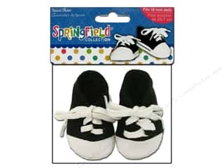 "Dolls and Doll Making Supplies Black: Fibre-Craft Doll Clothes Springfield 18"" Doll Tennis Shoes Black & White"