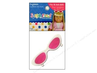 "Doll Making Clearance Crafts: Fibre-Craft Doll Clothes Springfield 18"" Doll Sunglasses White & Pink"