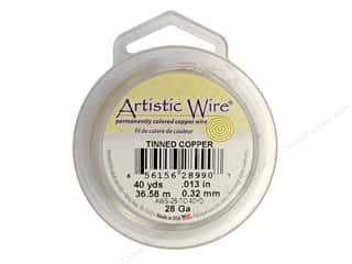 silver jewelry wire: Artistic Wire 28 ga. Copper Wire 40 yd. Tinned