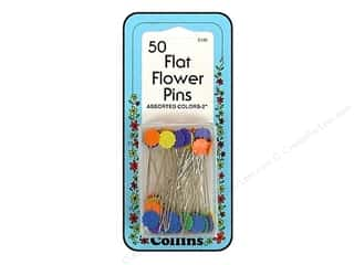 Flat Flower Pins by Collins 2 in. Assorted Colors 50 pc.