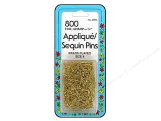 "sewing pins: Collins Pins Applique/Sequin1/2"" Brass 800 pc"