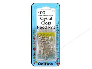 straight pins: Collins Pins Crystal Glass Head 100pc