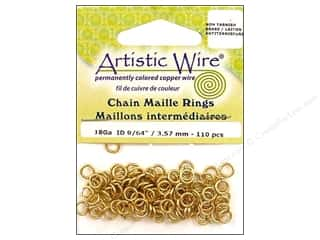 Jump Rings / Spring Rings: Artistic Wire Jump Rings 18 ga. 9/64 in. Brass 110 pc.