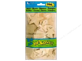Americana Gifts: Woodsies Wood Shapes Stars/Hearts/Squares/Triangles 200 pc.