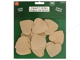 Wedding $3 - $4: Lara's Wood Value Pack Heart 1 3/4 in. 16 pc.