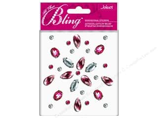 Medium Density Fiberboard (MDF) Shapes: EK Jolee's 3D Sticker Bling Gems Shape Pink/Silver