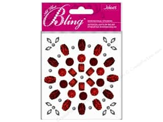 Medium Density Fiberboard (MDF) Shapes: EK Jolee's 3D Sticker Bling Gems Shape Red/Silver
