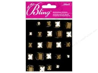 Rhinestones Black: Jolee's 3D Bling Stickers Gems Princess Cut Black and Silver