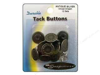 button: Snapsource Tack Button Wheat Wreath Antique Silver