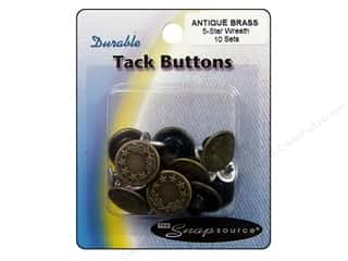 Snapsource Tack Button 5 Star Wreath Antique Brass