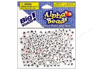 Beading & Jewelry Making Supplies ABC & 123: Darice Beads 7mm Alpha Round White/Black Letters 250pc
