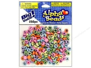 Darice Beads 7mm Alpha Round Assorted/Black Letters 250pc