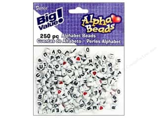 ABC & 123 mm: Darice Beads 7mm Alpha Heart Assorted/Black Letters 250pc
