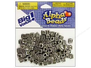 ABC & 123 mm: Darice Beads 6mm Alpha Cube Silver/Black Letters 85pc