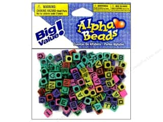 Darice Bead 6mm Alpha Cube Astd/Blk Letters 160pc