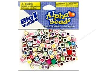 ABC & 123 mm: Darice Beads 6mm Alpha Cube White/Assorted Letters 160pc