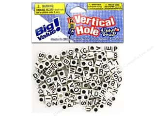 ABC & 123 Beading & Jewelry Making Supplies: Darice Beads 6mm Alpha Vertical Hole White/Black Letters 160pc