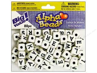 ABC & 123 Beading & Jewelry Making Supplies: Darice Beads 12mm Alpha Cube White/Black Letters 80pc