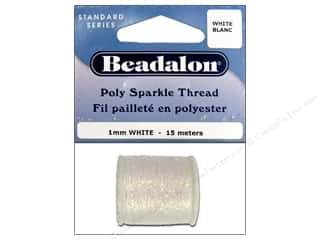 Beads Size Metric: Beadalon Poly Sparkle Thread .039 in. White 49.2 ft.