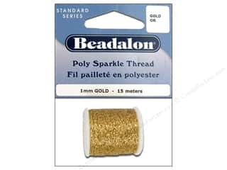 Clearance Aunt Lydia's Fashion Crochet Thread Metallics Size 5: Beadalon Poly Sparkle Thread .039 in. Gold 49.2 ft.