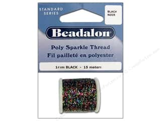 Clearance Aunt Lydia's Fashion Crochet Thread Metallics Size 5: Beadalon Poly Sparkle Thread .039 in. Black 49.2 ft.