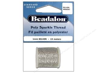 Beadalon Needles: Beadalon Poly Sparkle Thread .039 in. Silver 49.2 ft.