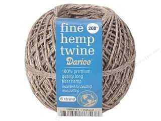 Darice Cord Hemp Twine Fine 6 Strand Natural 200ft
