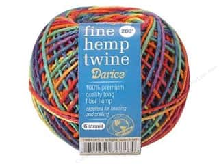 Kids Crafts: Darice Cord Hemp Twine Fine 6 Strand Bright 200ft