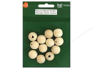 "Lara's Wood Round Bead 9/16"" 12pc"