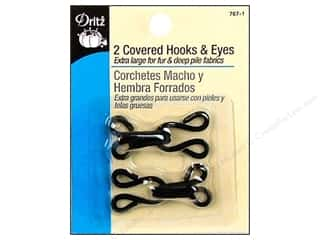 Dritz Hooks & Eyes Covered Black 2pc