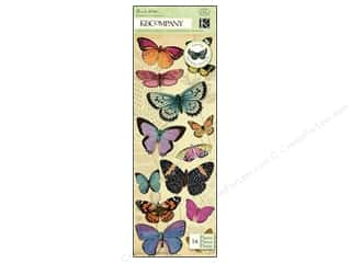 K&Co Adhesive Chipboard BW Flora & Fauna Butterfly