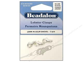Beadalon Lobster Clasps Medium Swivel Silver 3 pc.