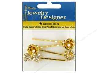 bobby pin: Darice Bobby Pins Rhinestones Gold Assorted 4pc