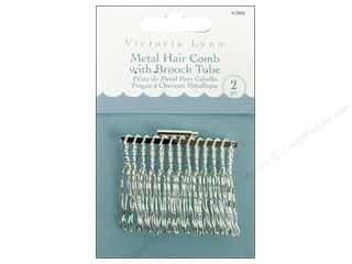 "Darice Hair Comb VL 2"" with Brooch Silver 2pc"