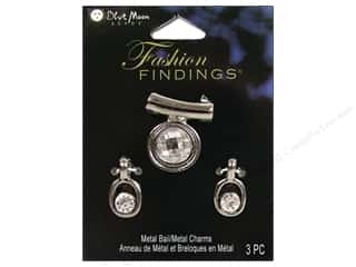 Clearance Blumenthal Favorite Findings: Blue Moon Bail FF Charm Metal/Glass Combo Blk Nckl