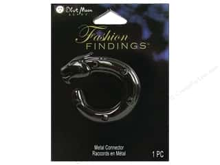 Drop Findings / Hoop Findings: Blue Moon Connector FF Metal Jaguar Black