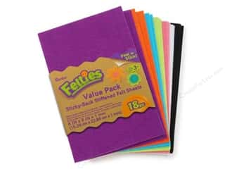 Felt Sheets / Felt Squares: Darice Felties Sheet 6x9 1mm Sticky Back Brt 18pc
