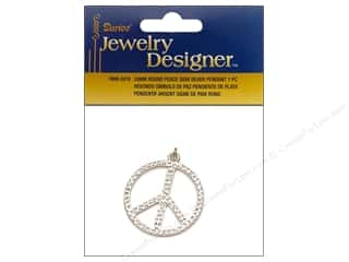 Darice Pendant 28mm Round Peace Sign Silver