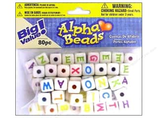 ABC & 123 Beading & Jewelry Making Supplies: Darice Beads 12mm Alpha Cube White/Assorted Letter 80pc