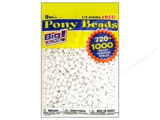Darice Bead Pony 9mm Big Value White 1000pc