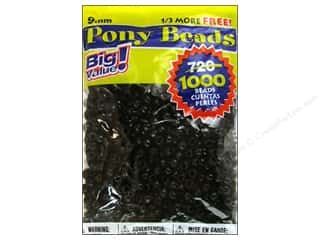 Darice Bead Pony 9mm Big Value Black 1000pc