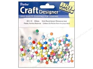 Rhinestones Beading & Jewelry Making Supplies: Darice Rhinestone 5mm Acrylic Round Multi 180pc