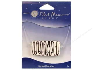 Blue Moon Beads Art Glass Rectangle Swirl White/Black