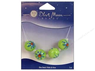 Blue Moon Beads Art Glass Round Flower Burst Green