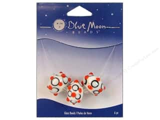 Blue Moon Beads Art Glass Rondelle Bumpy Red/White/Black